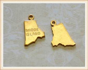 Rhode Island 12 pcs raw brass state charm RI