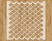 """Fish Scale Small Pattern Stencil MINI SERIES - Sku AP0101M (5.5"""" x 5.5"""")"""