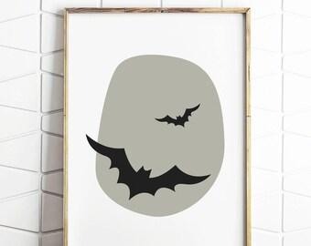 bat wall print, bat art print, bat art, bat cave sign, bat decor, bat gifts, bat lovers, bat illustration, bat prints, digital download