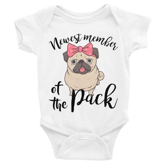 Newest member of the Pack Baby Onesie Bodysuit, Baby One Piece Body Suit Newest Member of the Pack, Cute Pug Dog, Onesie for Baby Girl