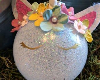 Personalized, glitter, Unicorn, glass, ornament