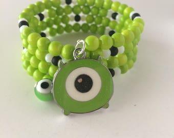 Mike Wazowski Bracelet, Monsters Inc Bracelet, Tsum Tsum Mike Wazowski Bracelet, Disney Bracelet, Monster Mike Wazowski, Wrap Bracelet