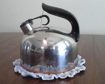 Vintage Revereware whistling tea kettle.
