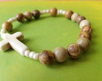 Natural Gemstone One Decade Catholic Rosary Stone Bracelet
