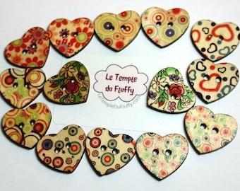 14 buttons, wood, 2.2 cm, 2 holes, heart shape, patterns