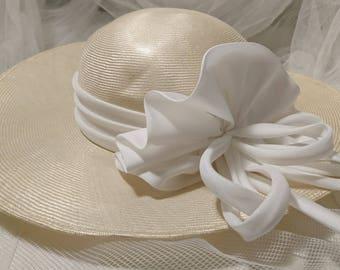 Vintage 70's connor wide brim hat with white corsage, wide brimmed vintage fine woven straw hat, vintage summer hat, vintage wedding hat