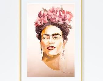Original Watercolor Painting,Watercolor Painting,Portrait,Portrait of Frida Kahlo.