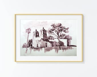 Original Watercolor Painting, San Antonio,Mission  , Church, Original Watercolor, landscape