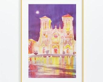 Original Watercolor Painting,Watercolor Painting,Watercolor , San Fernando Сathedral ,landscape, San Antonio,Texas