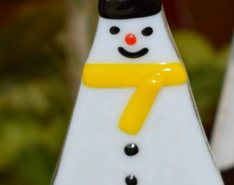 Fused glass Snowman Christmas tree ornament