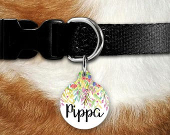 Pet Name Tag, Dog Name Tag, Dog Tag for Dogs, Pet ID Tag, Dog Tags, Personalized Dog Tag, Custom Dog Tag, Dog ID Tag, Cat ID, Floral Tag