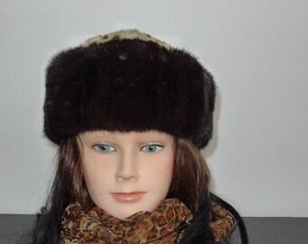 Superb vintage dark brow mink fur hat with genuine fur top - Sz L