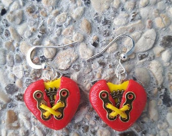 Red and yellow polymer clay steampunk heart earrings