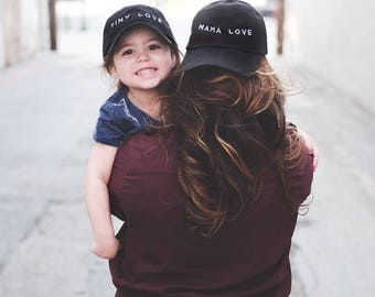 MAMA LOVE /// Black embroidered baseball hat