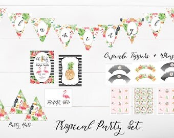 Tropical Printable Party Set | Birthday Party Decor Set | Bridal Shower | Baby Shower | Invitations | Banner | Cupcake Wrappers + Toppers