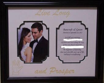 """Vintage Wedding acid free double engraved Mat for two 3 1/2"""" x 5 """" photos or personalized"""