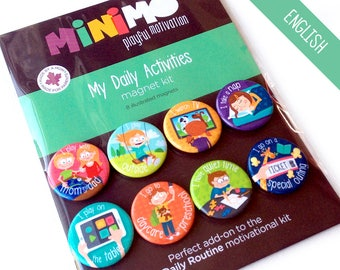 My Daily Activities magnet kit - Magnets - Magnetic Board - Routine - Daycare - Nap time - Play - Quiet time - Kids - Child - Minimo