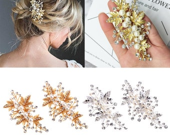 2Pcs Bride Hair Clips Wedding Rhinestone Alloy Accessories Jewelry Bridal Pins