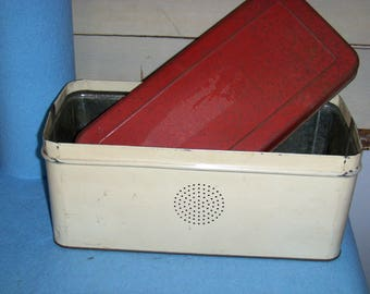 1940s bread box tin with ventilation, metal storage container.