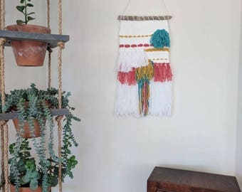 Bright Colored Woven Wall Hanging | White, Pink, Yellow, Teal Woven Wall Hanging | Nursery Decor | Multi-Colored Wall Hanging