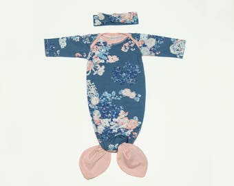 Ink Blue & Pink Floral Baby Mermaid Gown and Headband