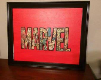 Marvel Comic Letter Collage Canvas