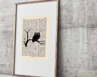 Pressure OWL antique book page - portrait