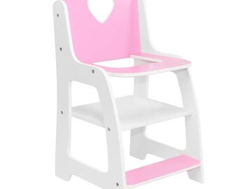 18 Inch Doll Furniture | Pink And White High Chair With Heart Theme | Fits