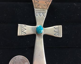 HUGE Vintage Sterling Sterling Silver Etched Turquoise Cross Pendant Southwest