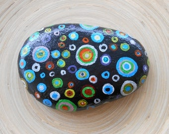 Hand Painted Stones,Home Decor,Painted Rock, Pebble, Acrylic, Abstract, Summer Garden Decoration