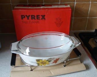 Boxed JAJ Pyrex Casserole dish, serving dish, Autumn Glory, with tray, Vintage, retro