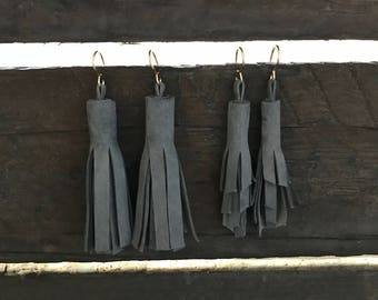 Tassel earrings, Gray tassel earrings, Gray tassel leather earrings, drop earrings, statement earrings