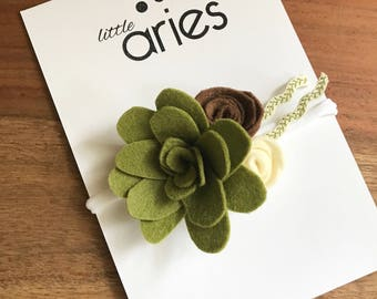 Succulent Rose Floral Crown - Fall Bow - Fall Flowers - Green Bow - Brown Bow - Baby Girl Bow - Baby Headband - Toddler Clip - Thanksgiving