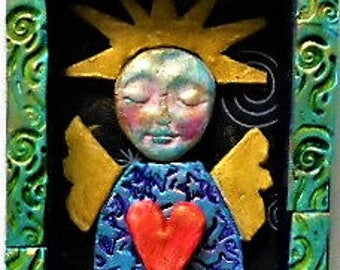 shrine, angel altar, blessing, wall art, inspirational, fairy, polymer clay, mosaic, boho, spiritual