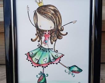 "Girl Kids Watercolour Wall Art,8""x10"",Original Painting,Nursery Art,PRINCESS Wall Art,Kids decor,Girl Bedroom Decor,Stick Figure Princess,"