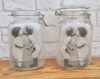Cute Kilner Jar, Cute Vintage Children, Glass Tea Light, Glass Vase, Glass Storage Jar, Cute Glass Lamp, Vintage Style Glass,