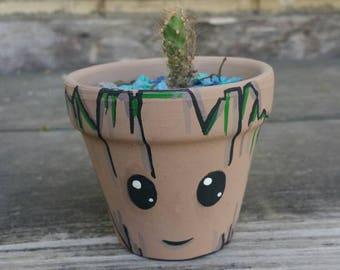 Groot Character Terra cotta pot handpainted flower pot