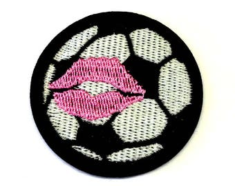 Black and White Football with Pink Lipstick Kiss, Soccer, Sew on or Iron on Patch - H510