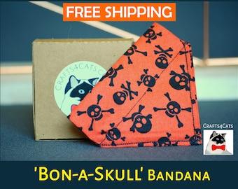 Halloween cat bandana - slip over cat collar bandana - skull kitten bandanna - kitten bandana - orange cat bandana - bandana for cat