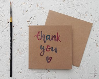 Thank You - Hand drawn Mini Brown Card