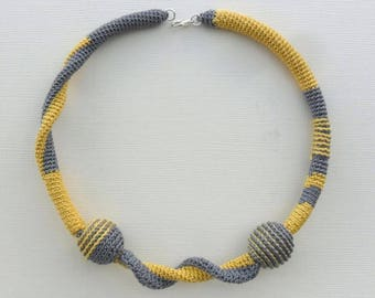 crochet necklace choker. grey and yellow, cotton, gift for her