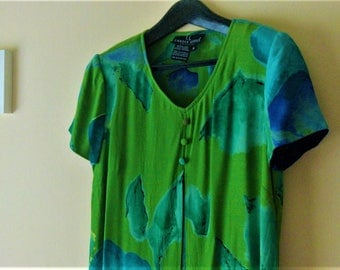 Minidress summer / / Vintage 90's / / Green with floral pattern / / Carole Little / / size 6