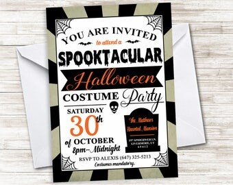 Halloween Costume Invite Party Invitation 5x7 Digital Haunted House Mansion Personalized