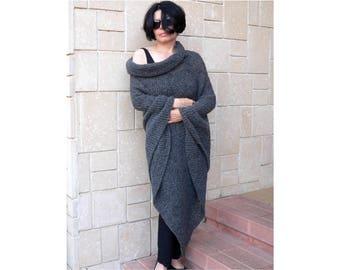 Women Poncho Cozy Loose Fit Mohair Alpaca Wool Oversize Loose Big Cowl Neckline Hood