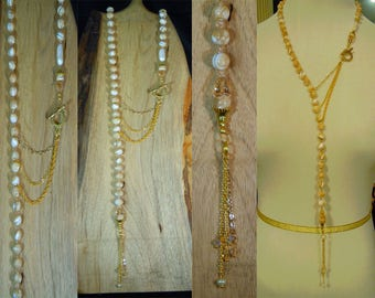 Natural Pearl 80 Lariat Necklace