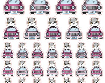 Mauly goes on a road trip - Hand Drawn IttyBitty Kitty Collection - Planner Stickers
