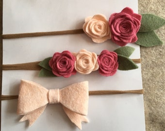 EASTER SALE! Three Pack of Felt Flower Baby Headbands/ Mernio Wool Blend Felt/ Nylon Headband