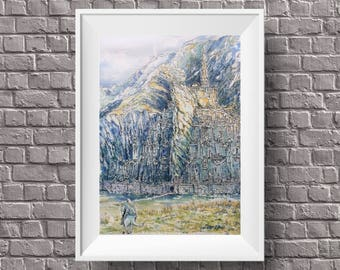 Lord of the rings minas tirith print, the hobbit art painting,lotr home decor,gandalf gondor city poster,middle earth illustration,the shire