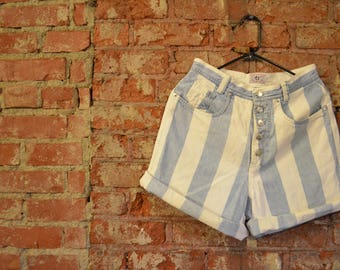 Vintage 80s/90s Striped Essentials Jeans High Waisted Denim Shorts