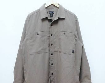 Hot Sale!!! Rare Vintage PATAGONIA Organic Cotton Tan Double Pocket Button Down Shirt Outdoor Hip Hop Skate Swag Large Size